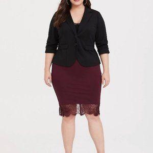 NEW Torrid Burgundy Lace Trim Ponte Pencil Skirt